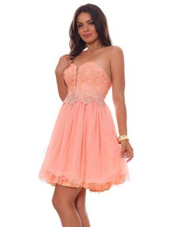 Rochie scurta deluxe Lady Light Apricot